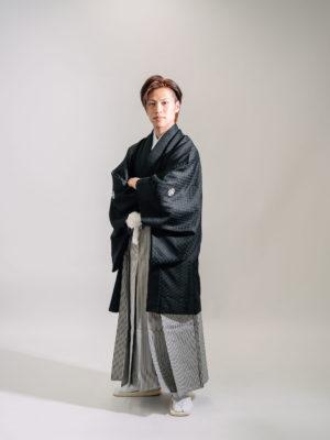 紋付袴(黒・菱形)005