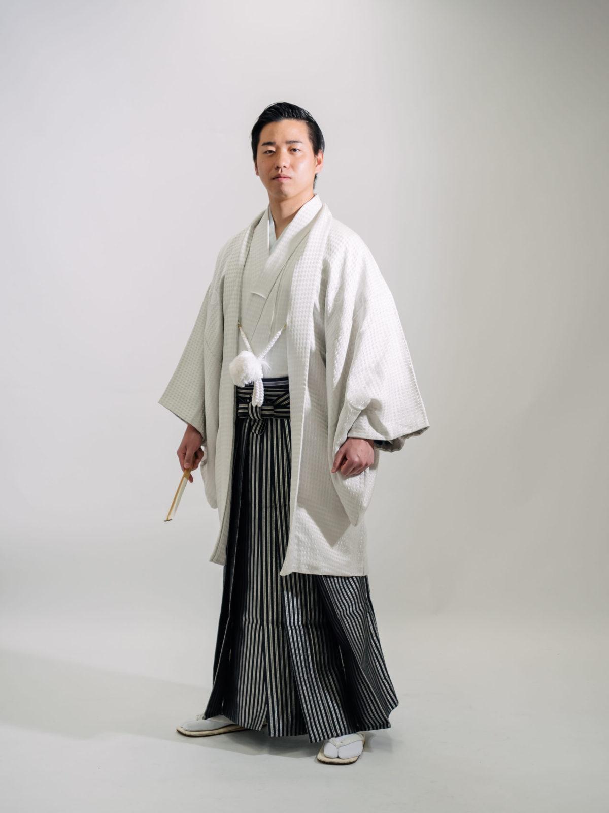 紋付袴(白・千鳥格子)007