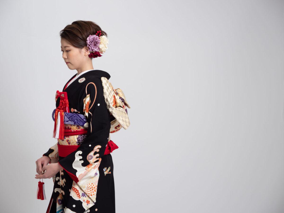 青海波紋大波 引き振袖 006